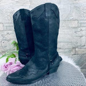 Reba Lance Western Black Cowboy Boots Size 8